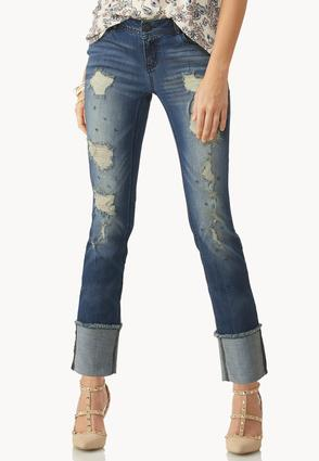 Distressed Deep Cuff Skinny Ankle Jeans