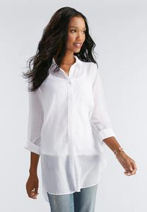 Side Slit Button Down Shirt-Plus