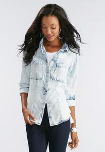 Acid Wash Snap Button Chambray Shirt-Plus
