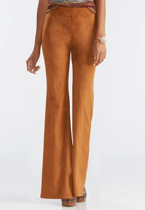 Faux Suede Pull- On Flare Pants