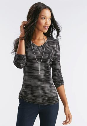 Ruched Side Streaky Striped Top- Plus