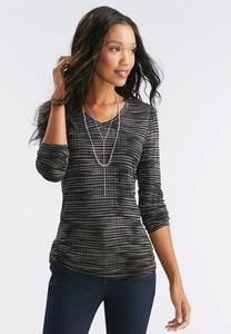 Ruched Side Streaky Striped Top-Plus