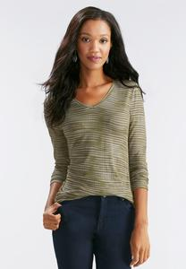 Ruched Side Streaky Striped Top