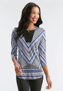 Exotic Chevron Cutout Neck Top-Plus