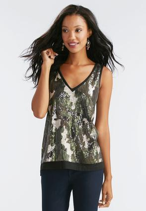 Sequin Camouflage Front Tank- Plus