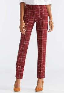 Windowpane Plaid Pencil Pants