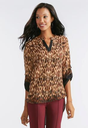 Leopard Print High- Low Popover Top- Plus