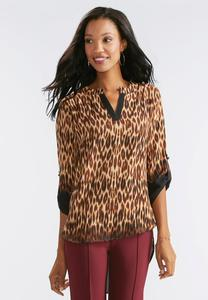 Leopard Print High-Low Popover Top-Plus