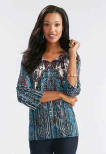 Tassel Tie Neck Paisley Poet Top-Plus