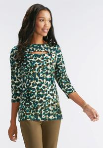 Spotted Camouflage Slit Neck Top- Plus