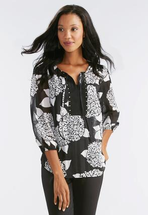 Embellished Abstract Poet Top- Plus