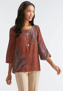 Mixed Print Top-Plus