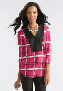Colorblock Plaid Popover Top