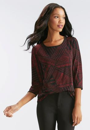 Streaky Lines Open Back Top- Plus