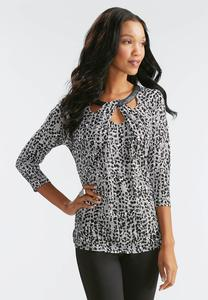 Abstract Twisted Cutout Neck Top
