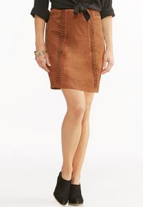 Whipstitch Faux Suede A-Line Skirt-Plus