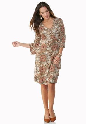 Medallion Kaleidoscope Wrap Dress