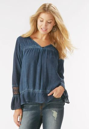 Flounced Acid Wash Poet Top- Plus