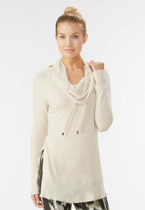 Mixed Media Drawstring Cowl Neck Tunic- Plus