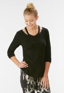 Cutout Neck Athleisure Swing Top-Plus