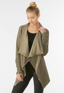 Lace Up Draped Athleisure Cardigan