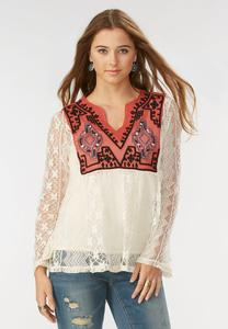 Embroidered Bib Lace Poet Top
