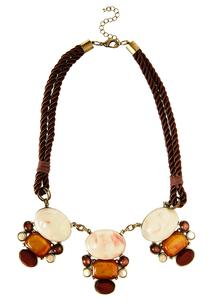 Mixed Stone Double Cord Bib Necklace