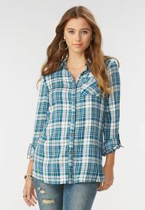 Plaid Button Down Tunic-Plus