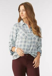 Plaid Chambray Button Down Shirt-Plus