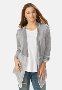 Mineral Wash Waterfall Cardigan- Plus