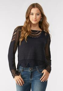 Crochet Inset Striped Skimmer Top