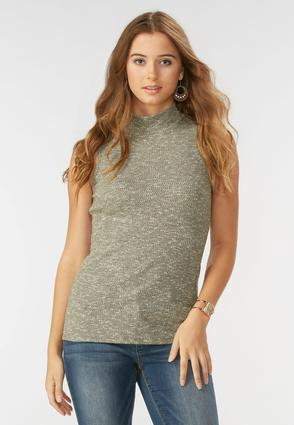 Marled Ribbed Turtleneck Tank- Plus