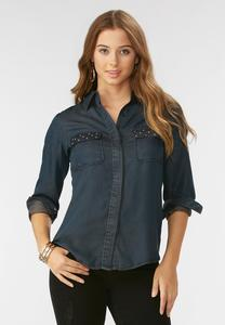 Stud Pocket Chambray Shirt