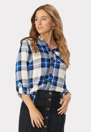 Plaid High- Low Button Down Tunic