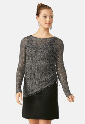 Ruched Drawstring Side Pointelle Sweater