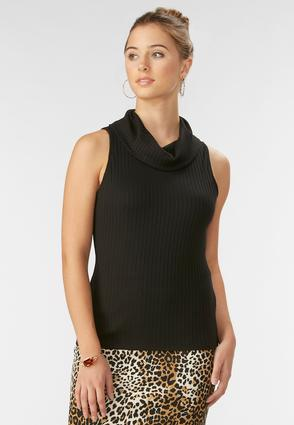 Cowl Neck Ribbed Tank- Plus