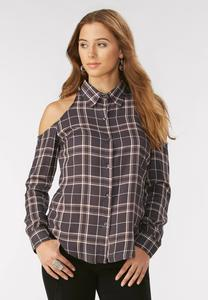 Cold Shoulder Plaid Button Down Shirt