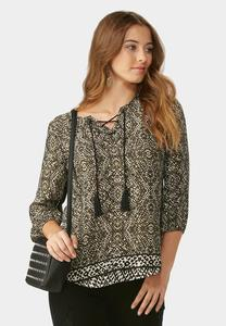 Lace Up Neck Border Print Poet Top