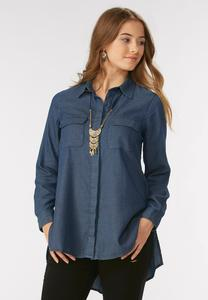 Textured Chambray Swing Tunic-Plus
