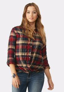 Twist Front Plaid Bubble Shirt-Plus
