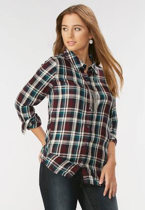 Plaid Swing Button Down Tunic- Plus