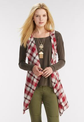 Plaid Waterfall Vest- Plus