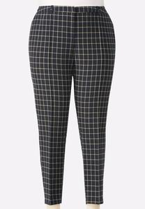 Windowpane Pencil Pants-Plus