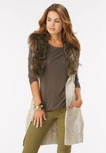 Faux Fur Collar Belted Sweater Vest