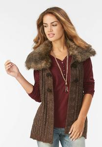 Faux Fur Collar Toggle Sweater Vest