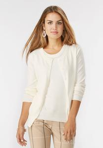 Pointelle Trim Cardigan