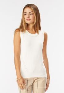 Pointelle Trim Sweater Tank
