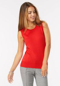Pointelle Trim Sweater Tank-Plus