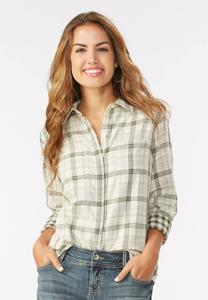 Double Faced Plaid Shirt-Plus