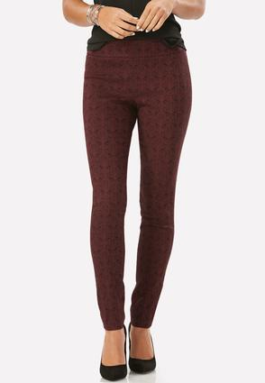 Paisley Lace Pull- On Slim Leg Pants